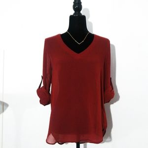 Le Chateau Red Sheer Blouse | Hi Lo